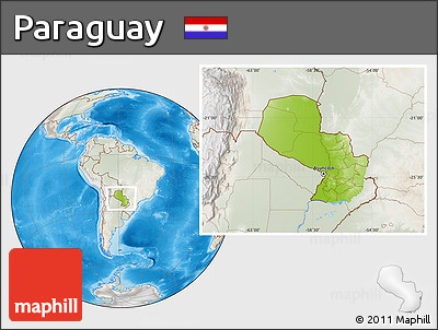 Physical Location Map of Paraguay, lighten, semi-desaturated, land only