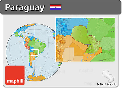 Physical Location Map of Paraguay, political outside