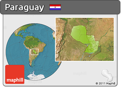 Physical Location Map of Paraguay, satellite outside