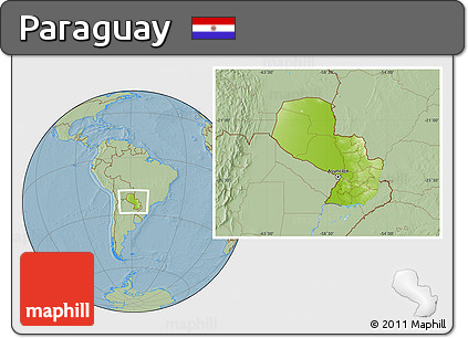 Physical Location Map of Paraguay, savanna style outside, hill shading