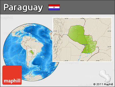Physical Location Map of Paraguay, shaded relief outside