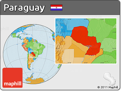 Political Location Map of Paraguay