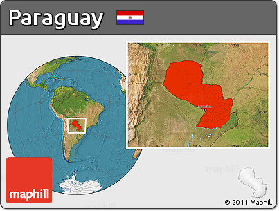 Satellite Location Map of Paraguay