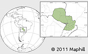 Savanna Style Location Map of Paraguay, blank outside
