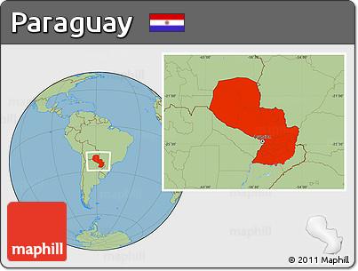 Savanna Style Location Map of Paraguay