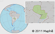 Savanna Style Location Map of Paraguay, gray outside