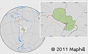 Savanna Style Location Map of Paraguay, lighten, desaturated