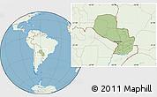 Savanna Style Location Map of Paraguay, lighten, land only