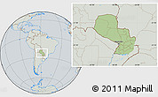 Savanna Style Location Map of Paraguay, lighten, semi-desaturated