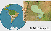 Savanna Style Location Map of Paraguay, satellite outside