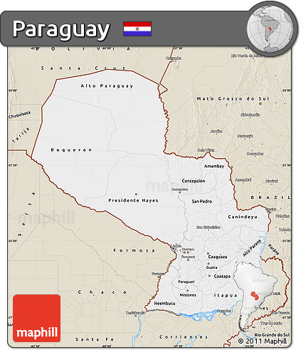 Classic Style Map of Paraguay