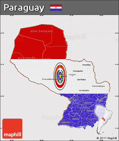 Flag Map of Paraguay