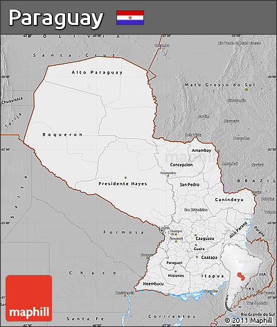Gray Map of Paraguay