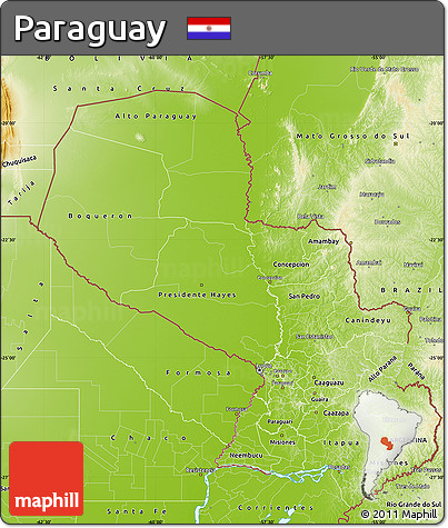 Physical Map of Paraguay
