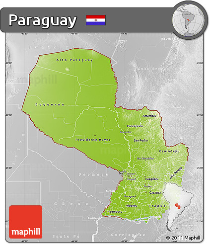 Physical Map of Paraguay, lighten, desaturated