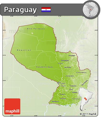 Physical Map of Paraguay, lighten