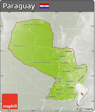 Physical Map of Paraguay, lighten, semi-desaturated