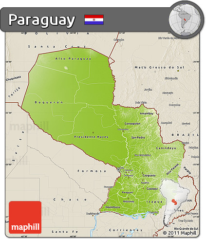 Physical Map of Paraguay, shaded relief outside