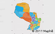 Political Map of Paraguay, cropped outside