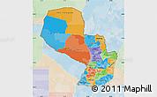 Political Map of Paraguay, lighten