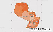 Political Shades Map of Paraguay, cropped outside
