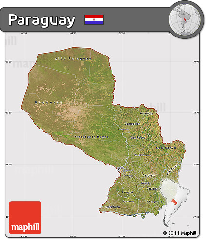 Satellite Map of Paraguay, cropped outside