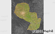 Satellite Map of Paraguay, darken, desaturated