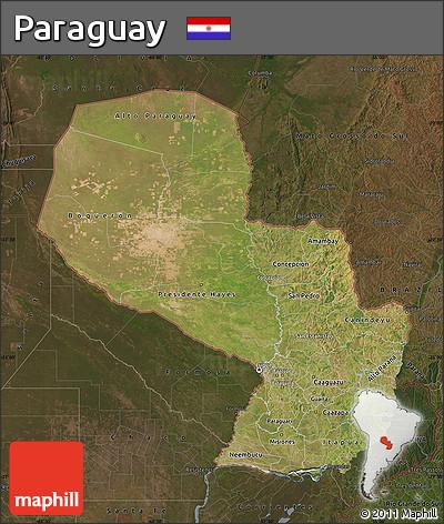 Satellite Map of Paraguay, darken
