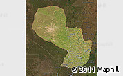 Satellite Map of Paraguay, darken