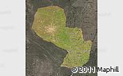 Satellite Map of Paraguay, darken, semi-desaturated