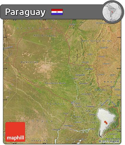 Satellite Map of Paraguay
