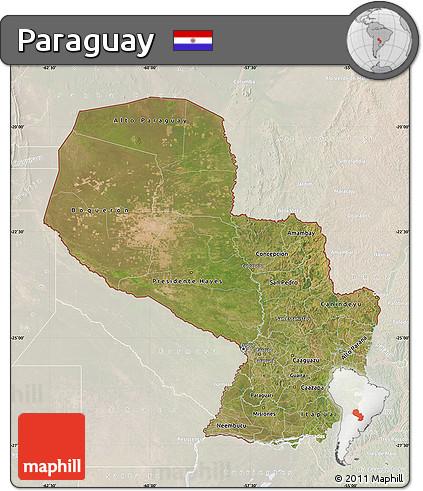 Satellite Map of Paraguay, lighten