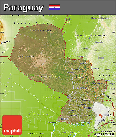 Satellite Map of Paraguay, physical outside