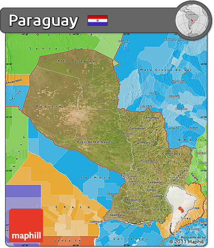 Satellite Map of Paraguay, political outside