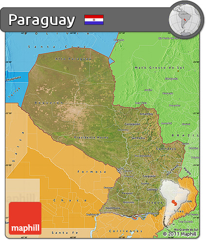 Satellite Map of Paraguay, political shades outside