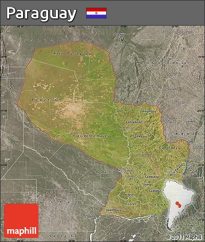 Satellite Map of Paraguay, semi-desaturated