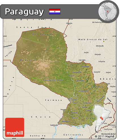 Satellite Map of Paraguay, shaded relief outside