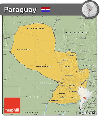 Savanna Style Map of Paraguay
