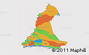 Political 3D Map of Neembucu, cropped outside