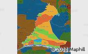Political 3D Map of Neembucu, darken