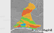 Political 3D Map of Neembucu, desaturated