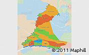 Political 3D Map of Neembucu, lighten