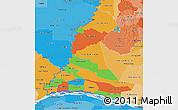 Political 3D Map of Neembucu, political shades outside