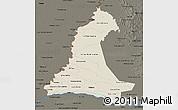 Shaded Relief 3D Map of Neembucu, darken