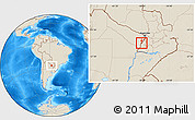Shaded Relief Location Map of Alberdi