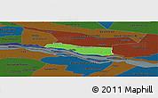 Political Panoramic Map of Cerrito, darken