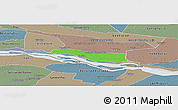 Political Panoramic Map of Cerrito, semi-desaturated