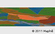 Political Panoramic Map of Laureles, darken