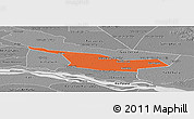 Political Panoramic Map of Laureles, desaturated