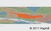 Political Panoramic Map of Laureles, semi-desaturated